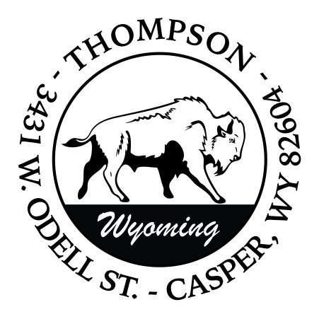 RD_BISON_WYO $35.90 Round Address Stamp