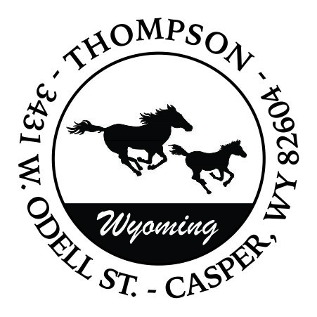 RDHORSEWYO $35.00 Round Address Stamp