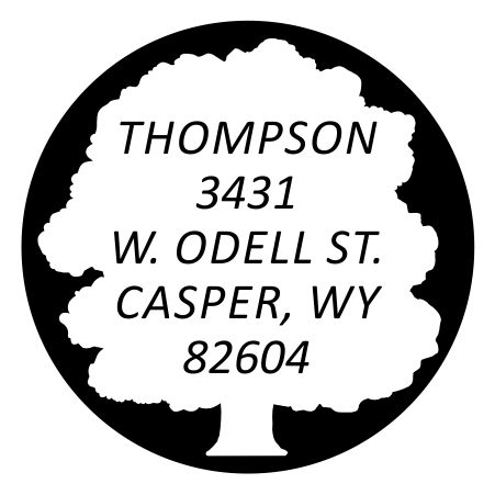 RDTREE $35.00 Round Address Stamp