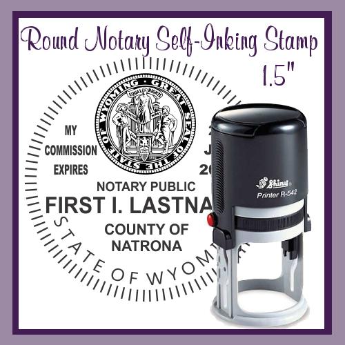 Wyoming Notary Stamp (Round Self-Inking, Large)