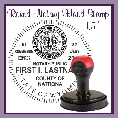 Wyoming Notary Public (Large Round Hand Stamp)